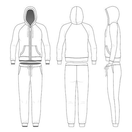 Conjunto de ropa de hombre con capucha y pantalón. Ilustración de vector