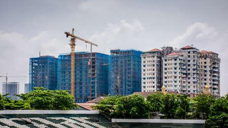 construction site in Yangon, Myanmar, 21-may-2017