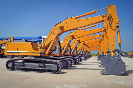excavators are parking in the compound after shipment, Myanmar