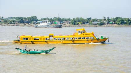 Yangon water bus, or water taxi in Hlaing river. Public transportation in Myanmar, Dec-2017 Editorial