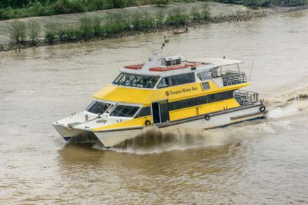 Yangon water bus, or water taxi in Hlaing river. Public transportation in Myanmar, Jan-2018 Editorial