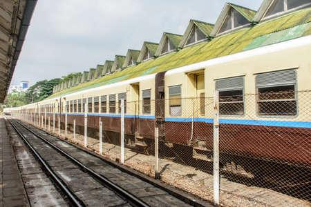 A train at the railway station, Yangon, Myanmar. Stok Fotoğraf