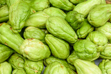 closeup photo of fresh vegetable, marrow or chayote