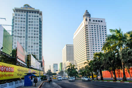 Downtown area of Yangon, Sule pagoda road, Myanmar, Feb-2018 Editorial