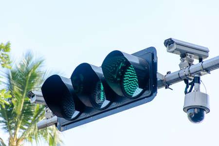Photo of traffic light and CCTV camera Imagens