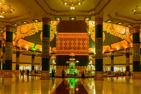 Internal view of Uppatasanti Pagoda, Nay Pyi Taw, Myanmar, Feb-2018. Take photo at night time. Editorial