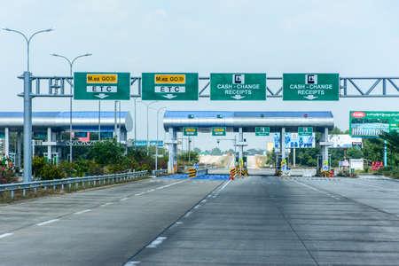 Toll Gate, 115 miles away from Yangon, on Yangon-Mandalay express way, Myanmar, Feb-2018 Editorial