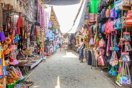 photo of temporary shops at Shwe Set Taw pagoda festival, Myanmar, Feb-2018