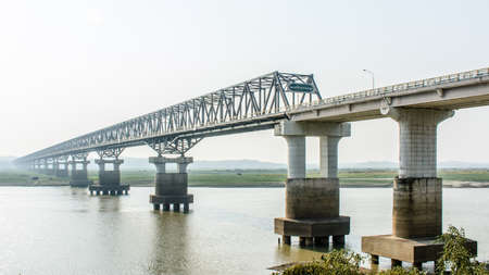 modern bridge at Magway, Myanmar. It is joining between Minbu and Magway township, over the Irrawaddy river