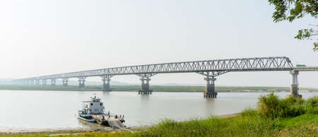 modern bridge at Magway, Myanmar. It is joining between Minbu and Magway township, over the Irrawaddy river. Bridge name is