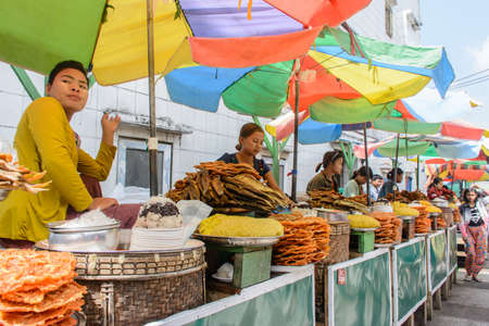 traditional food shop at Kyaik Htee Yoe pagoda, Myanmar, March-2018
