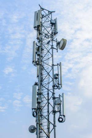 mobile telecom tower with blue sky