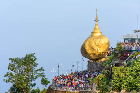 Golden Rock Pagoda, Kyaik Htee Yoe, Mon State, Myanmar, 1-March-2018 Editorial