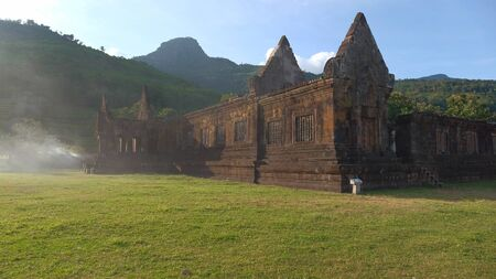 Ancient road of the Poo temple is Khmer art about Buddhist century 12 in Pakse Laos.
