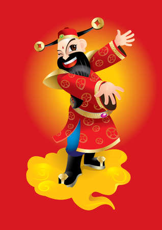 A Chinese wealth god with open arms.