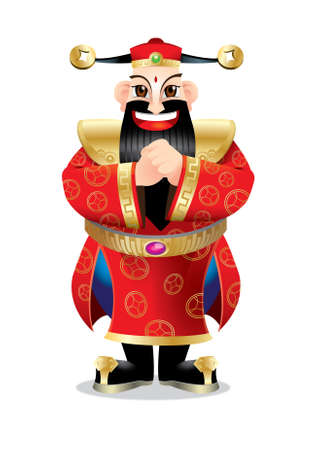 A Chinese wealth god with greeting post.