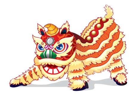 Un lion chinois plein d'entrain est prêt à sauter haut. La danse du lion ne se fera pas seulement pendant le Nouvel An chinois, mais dans tous les événements heureux et grandioses pour apporter la chance et la bonne chance.
