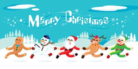 Santa Claus en zijn vrienden vieren Kerstmis. Stock Illustratie