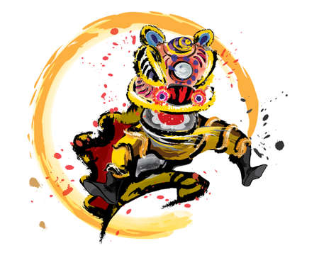 An isolated jumping Chinese lion in various colors and presented in splashing ink drawing style. Vector. Иллюстрация