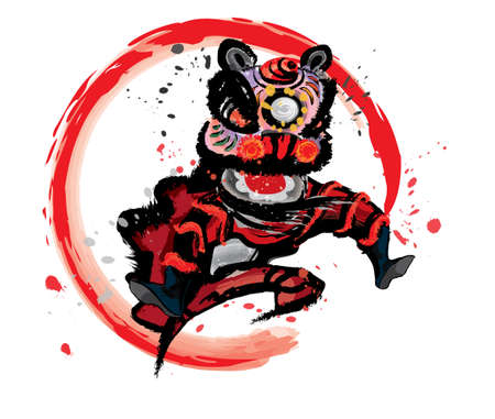 An isolated jumping Chinese lion in various colors and presented in splashing ink drawing style. Vector.  イラスト・ベクター素材