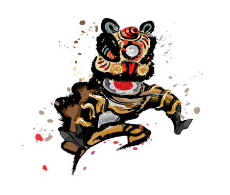 An isolated jumping Chinese lion in various colors and presented in splashing ink drawing style. Vector. Illustration