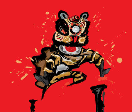 A jumping Chinese lion in various colors and presented in splashing ink drawing style. Red background. Vector.