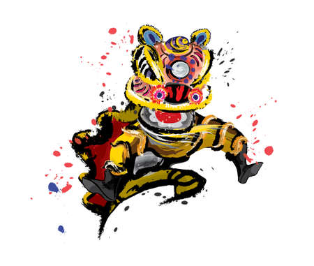An isolated jumping Chinese lion in various colors and presented in splashing ink drawing style. Vector. Vectores
