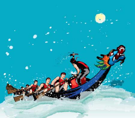 Vecteur de course de bateau dragon pendant le festival chinois de bateau dragon. L'effet d'éclaboussure d'encre le rend plus puissant, plein d'énergie et d'esprit!