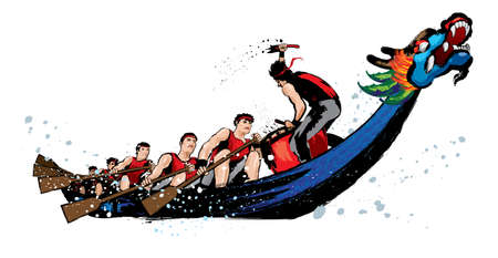 Vector of dragon boat racing during Chinese dragon boat festival. Ink splash effect makes it looks more powerful, full energy and spirit! Stock Illustratie