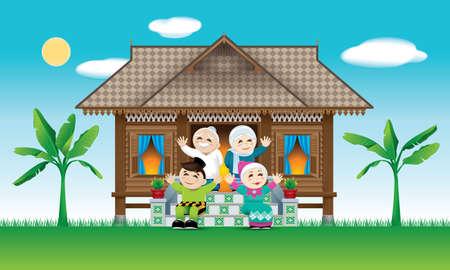 Een moslimfamilie die het Raya-festival viert in hun traditionele Maleisische huis. Met scène van dorpsdag. Vector Illustratie