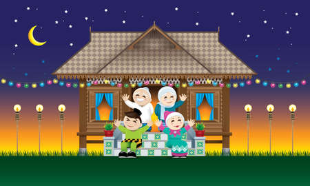A Muslim family celebrating Raya festival in their traditional Malay style house.  With village evening's scene.