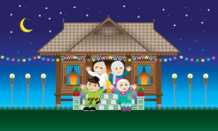 A Muslim family celebrating Raya festival in their traditional Malay style house.  With village nights scene.