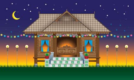 Ein schönes traditionelles Holzhaus im malaiischen Stil. Mit Dorfabendszene.
