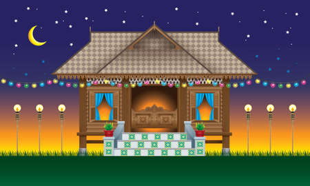 A beautiful traditional wooden Malay style village house.  With village evenings scene.