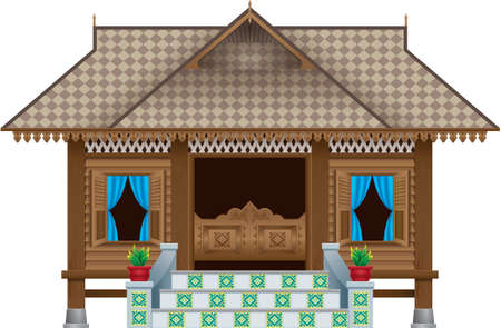 A beautiful traditional wooden Malay style village house. scene. Isolated.
