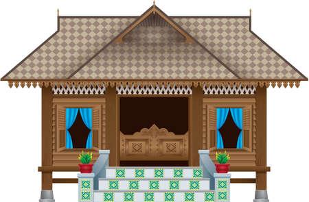 Een prachtig traditioneel houten dorpshuis in Maleisische stijl. tafereel. Geïsoleerd.