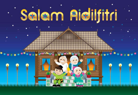 A Muslim family celebrating Raya festival in their traditional Malay style house.  The words Salam Aidilfitri means happy Hari Raya.