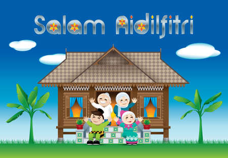 "A Muslim family celebrating Raya festival in their traditional Malay style house. The words ""Salam Aidilfitri"" means happy Hari Raya."
