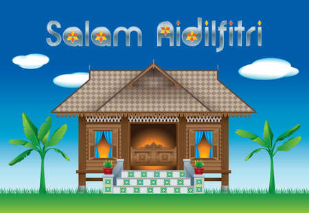 A beautiful traditional wooden Malay style village house. scene.  A Muslim family celebrating Raya festival in their traditional Malay style house.  The words