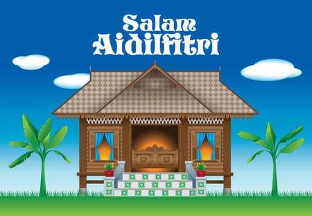 A beautiful traditional wooden Malay style village house. scene.  The words
