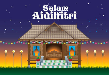 A beautiful traditional wooden Malay style village house. scene.  The words Salam Aidilfitri means happy Hari Raya.