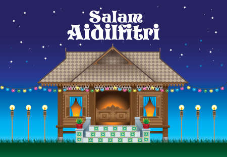 A beautiful traditional wooden Malay style village house. The words Salam Aidilfitri means happy Hari Raya.