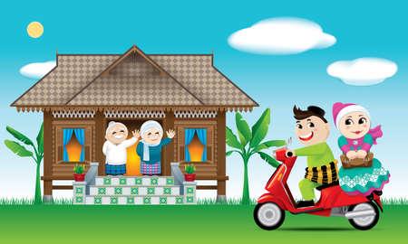 Un couple vient d'arriver dans sa ville natale, prêt à célébrer le festival Raya avec ses parents. Les mots Banque d'images - 99862268