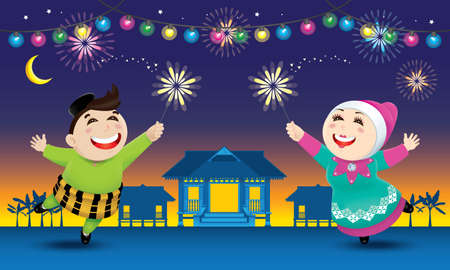 A boy and a girl is playing with fireworks. The words Salam Aidilfitri  means happy Hari Raya. Иллюстрация