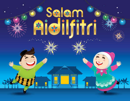 A boy and a girl is playing with fireworks. The words Salam Aidilfitri  means happy Hari Raya. Illustration