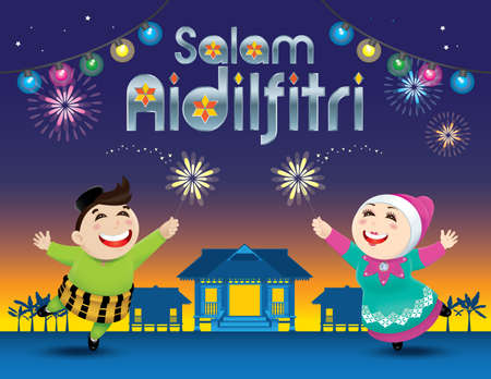 A boy and a girl is playing with fireworks. Illustration
