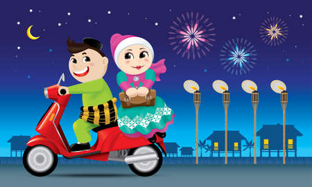 A couples is on the way back to their hometown, ready to celebrate Raya festival with their family.