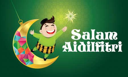 A Muslim boy playing fireworks on a swinging moon. The words Salam Aidilfitri means happy Hari Raya.