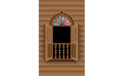 A beautiful traditional wooden Malay style window frame.