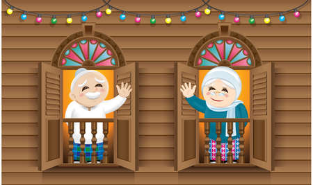 Muslim old man and woman standing on a Malay style window.